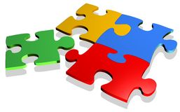 Puzzle Colors 3d. A simple Four Peaces 3d Puzzle Stock Image