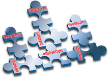 Puzzle_competence_innovation_quality Fotografia de Stock