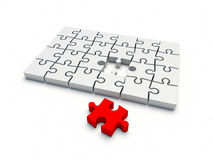 Puzzle complete without one piece Royalty Free Stock Photography