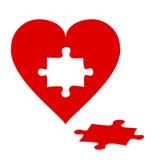 Puzzle con cuore rosso Fotografie Stock