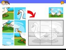 Puzzle con gli uccelli dell'azienda agricola dell'anatra e dell'oca Fotografia Stock Libera da Diritti