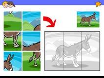 Puzzle con il carattere dell'animale da allevamento dell'asino Immagini Stock Libere da Diritti