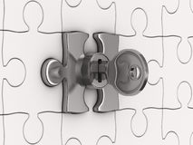 Puzzle con il tasto Fotografie Stock