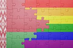 Puzzle con la bandiera nazionale della Bielorussia e della bandiera gay Immagine Stock Libera da Diritti
