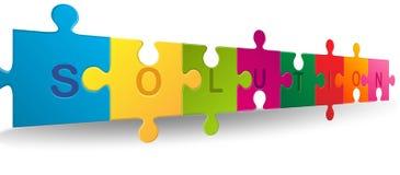 Puzzle con la parola della soluzione Fotografia Stock Libera da Diritti