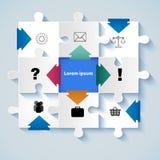 Puzzle con le icone per i concetti di affari Fotografia Stock Libera da Diritti