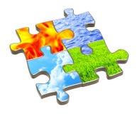 Puzzle con quattro elementi della natura illustrazione di stock