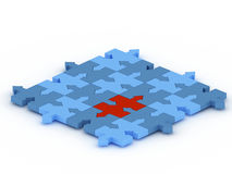 Puzzle concept. A 3d puzzle concept with blue and red color Vector Illustration