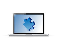 Puzzle Concept on a laptop illustration Royalty Free Stock Photography