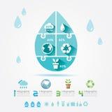 Puzzle Concept.Vector di Infographic di ecologia degli elementi di progettazione dell'acqua Fotografie Stock Libere da Diritti