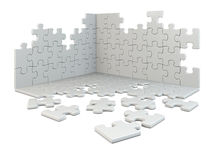 Puzzle construction. Isolated on white Stock Photo