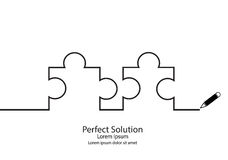 Puzzle contour. Puzzle silhouette simple line drawings. Perfect solution concept Royalty Free Stock Images