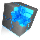 Puzzle cube. Blue transparent puzzle cube with grey shell against white background Stock Photos