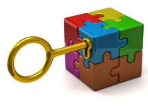 Puzzle cube and key. Illustration of colorful puzzle cube with golden key Stock Photography