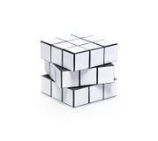 Puzzle bianco in bianco del cubo dei rubiks Fotografia Stock Libera da Diritti