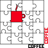 Puzzle with a cup of coffee Royalty Free Stock Photo