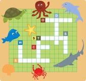 Puzzle d'animal de mer (mots croisé) Images libres de droits