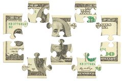 Puzzle d'argent de billet de banque du dollar Photos stock