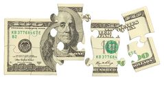 Puzzle d'argent de billet de banque du dollar Photographie stock