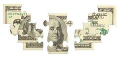 Puzzle d'argent de billet de banque du dollar Photographie stock libre de droits