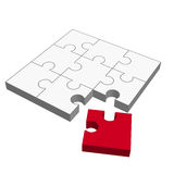 Puzzle 3D - does not fit!. Three dimensional puzzle with one red part who does not fit Stock Photos