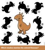 Puzzle d'enfants avec un dinosaure brun de bande dessinée illustration stock