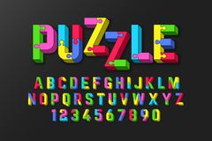 Puzzle 3D font. Jigsaw puzzle alphabet and numbers Stock Photos