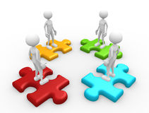 Puzzle. 3d people - man, person and pieces of puzzle Stock Photography