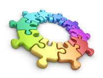 Puzzle 3D. Team work concept.  Stock Photo