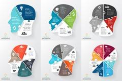 Puzzle de cerveau de vecteur infographic Calibre pour le diagramme de tête humaine, graphique, présentation, diagramme de visage  Image stock