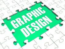 Puzzle de conception graphique montrant l'art de Digital illustration libre de droits