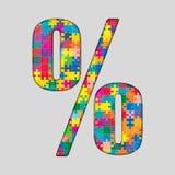 Puzzle de couleur - marque de pour cent Gigsaw, morceau Photo libre de droits