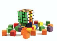 Puzzle de cube en Rubiks Images stock