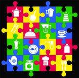 Puzzle de forme d'articles de cuisine d'icônes Photo stock