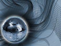Puzzle de globe sur le fond abstrait Photographie stock libre de droits