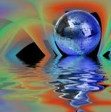 Puzzle de globe sur le fond abstrait Images stock