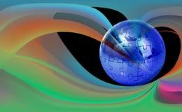 Puzzle de globe sur le fond abstrait image stock