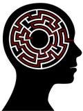 Puzzle de labyrinthe de cercle comme cerveau dans une tête de personne Photos stock