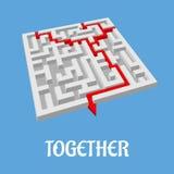 Puzzle de labyrinthe montrant deux itinéraires alternatifs Image stock