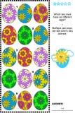 Puzzle de logique avec des ensembles d'oeufs peints illustration libre de droits