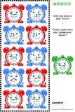 Puzzle de logique avec des horloges illustration de vecteur