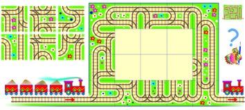 Puzzle de logique avec le labyrinthe Devez dessiner les rails de chemin de fer utilisant les places restantes et trouver la maniè Photo libre de droits