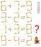 Puzzle de logique Trouvez la seule tâche où est possible pour ajouter une allumette et pour rendre l'équation correcte Image libre de droits