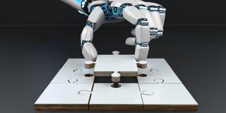 Puzzle de main de robot de humanoïde photo stock