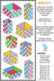 Puzzle de maths ou problème visuel, capacité de récipient orientée illustration de vecteur