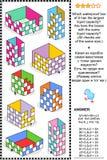 Puzzle de maths ou problème visuel, mesure liquide de capacité de récipient orientée illustration stock