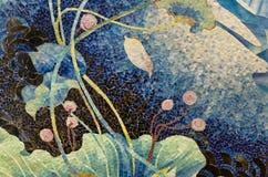 Puzzle de mosaïque d'étang de Lotus photos stock