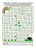 Puzzle de mot de Codebreaker, jour de rue Patrick orienté Photographie stock