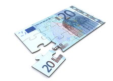 Puzzle de note de l'euro 20 Image stock