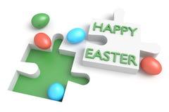 Puzzle de Pâques : Joyeuses Pâques avec des oeufs Photo libre de droits
